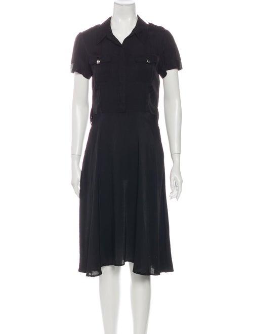 L'Agence Midi Length Dress Black