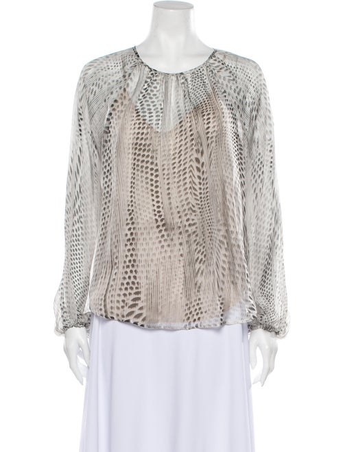 L'Agence Silk Printed Blouse White