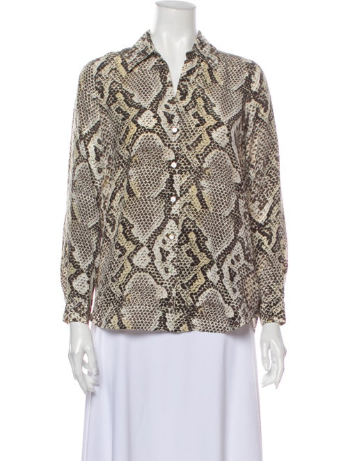L'Agence Silk Animal Print Button-Up Top