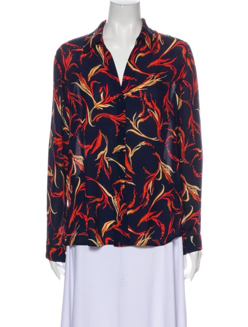 L'Agence Silk Floral Print Button-Up Top Blue
