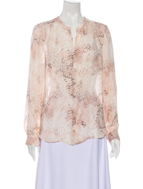 L'Agence Silk Animal Print Blouse Pink