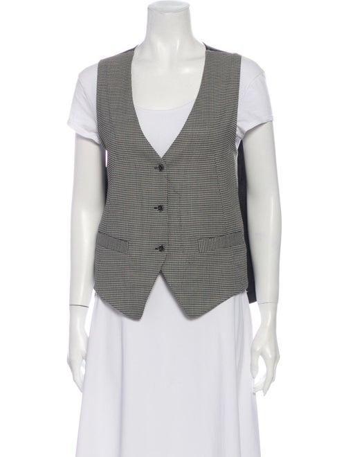 L'Agence Houndstooth Print Vest Black