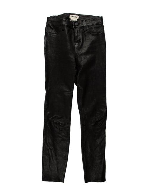 L'Agence Lamb Leather Skinny Leg Pants Black