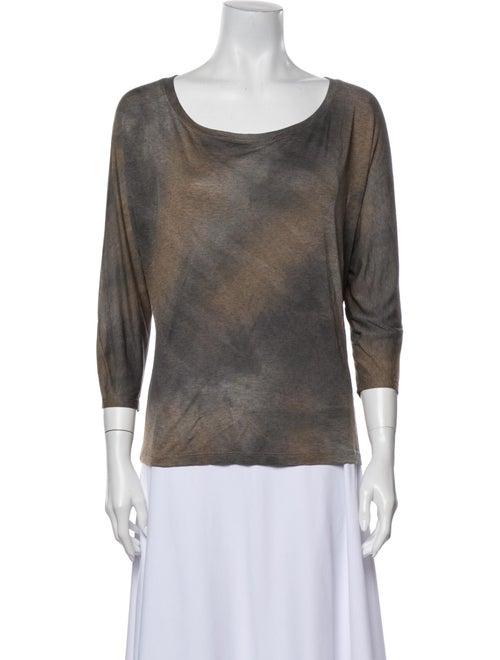L'Agence Tie Dye Top Tie-Dye Print T-Shirt Green