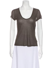 L'Agence Scoop Neck Short Sleeve T-Shirt