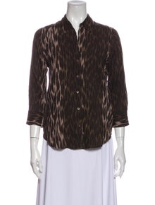 L'Agence Animal Print Three-Quarter Sleeve Button-Up Top