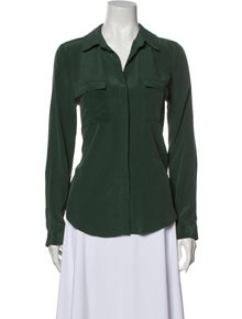 L'Agence Silk Long Sleeve Button-Up Top