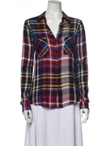 L'Agence Plaid Print V-Neck Button-Up Top