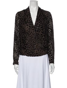 L'Agence Animal Print V-Neck Blouse