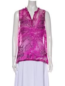 L'Agence Silk Printed Blouse