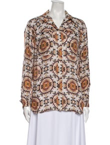 L'Agence Silk Printed Button-Up Top