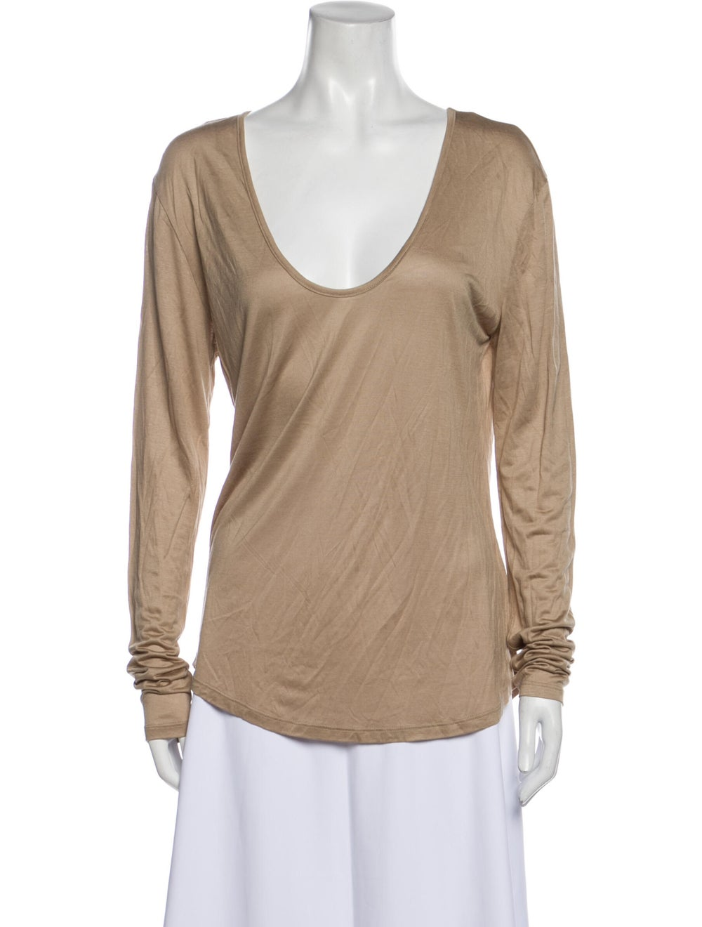 L'Agence Scoop Neck Long Sleeve T-Shirt Brown - image 1