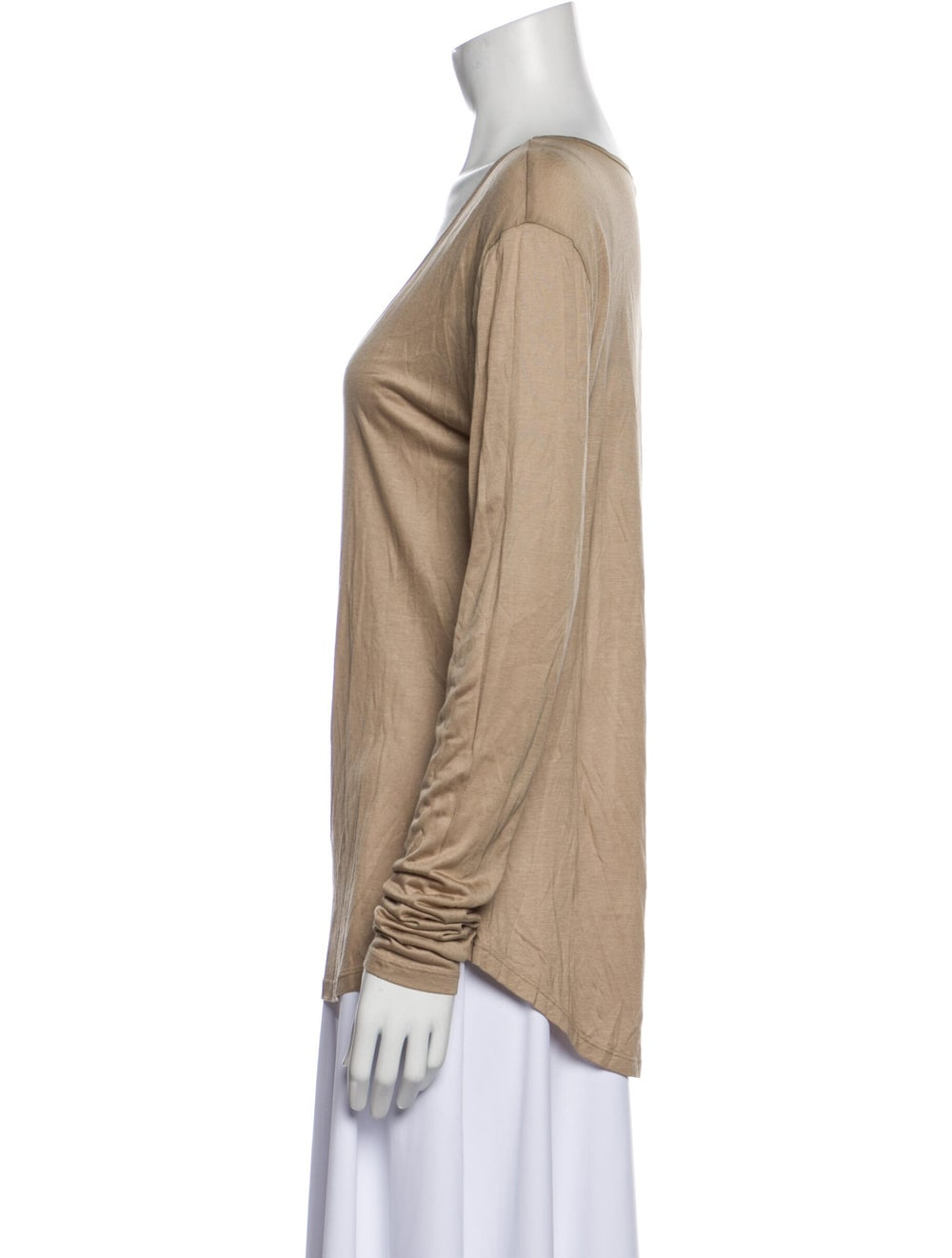 L'Agence Scoop Neck Long Sleeve T-Shirt Brown - image 2