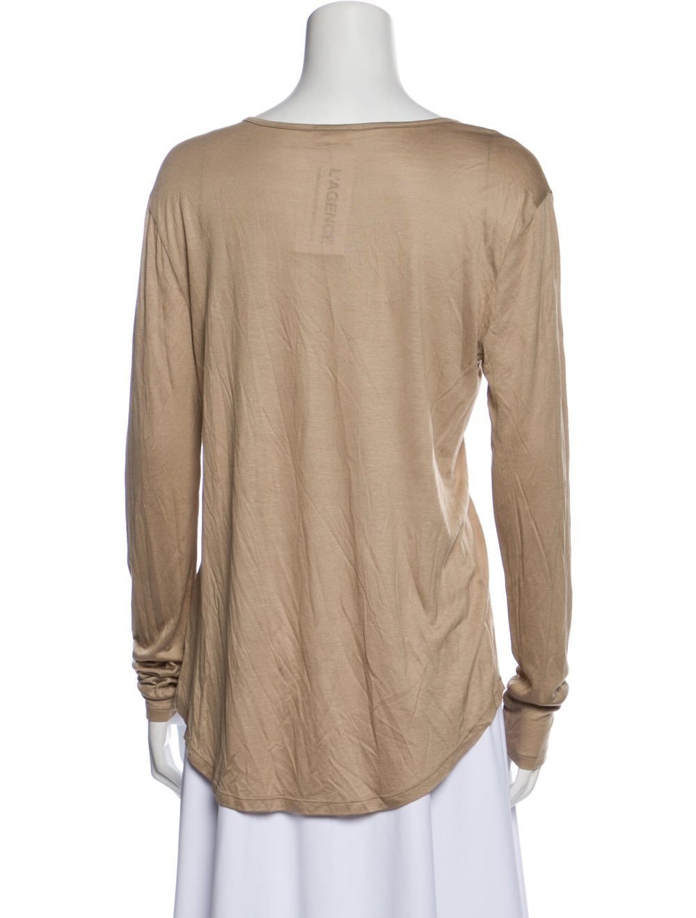 L'Agence Scoop Neck Long Sleeve T-Shirt Brown - image 3