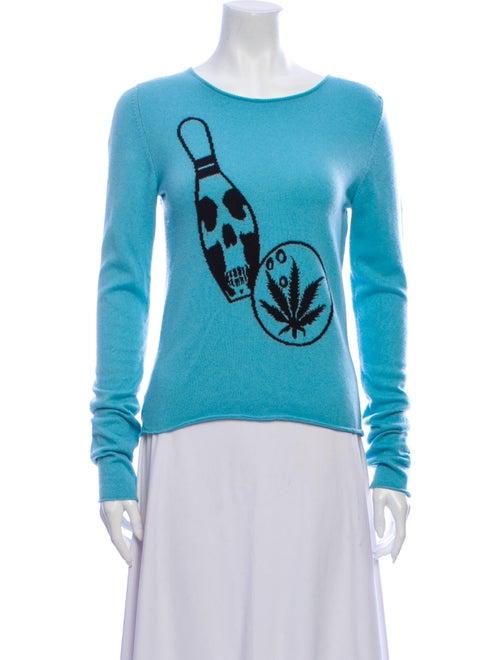 Lucien Pellat-Finet Cashmere Intarsia Sweater Aqua