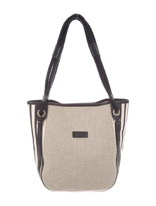 Longchamp Leather-Trimmed Shoulder Bag Natural