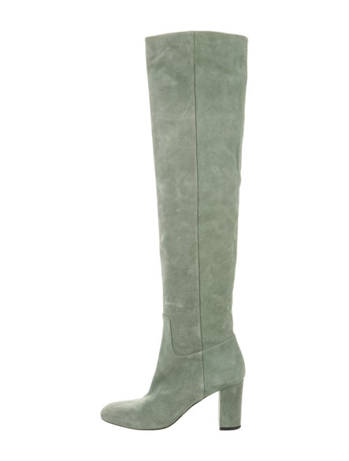 Longchamp Over-The-Knee Suede Boots Green