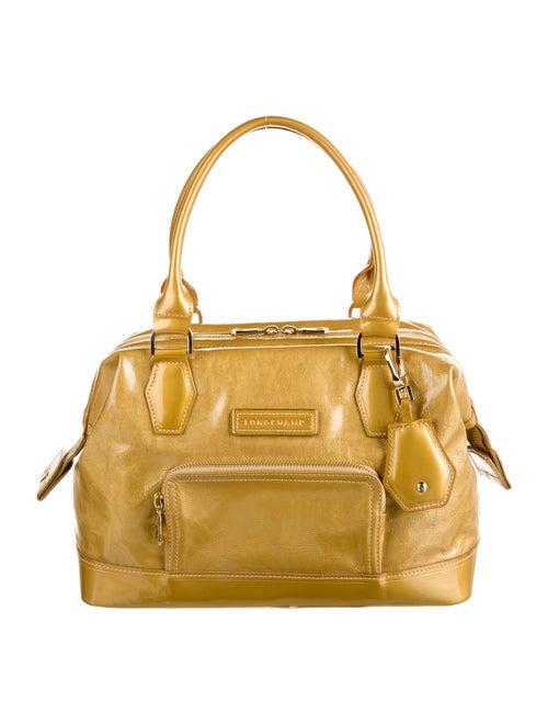 Longchamp Patent Leather Shoulder Bag Gold