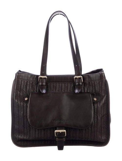 Longchamp Embossed Leather Shoulder Bag gold