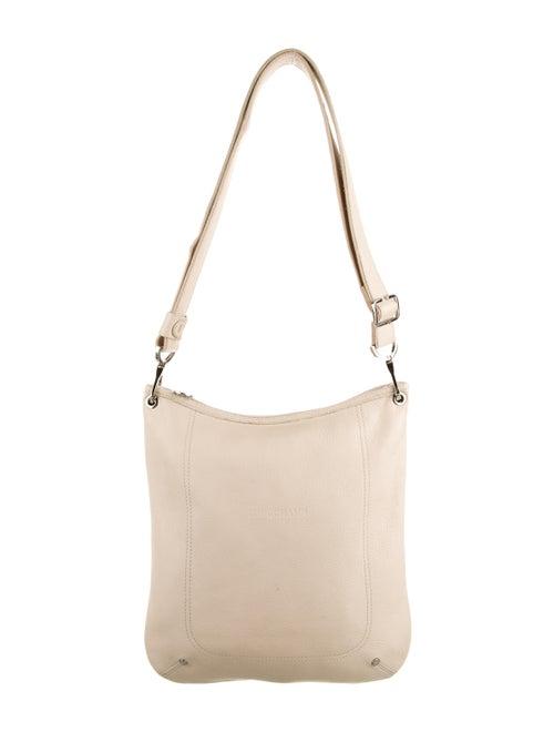 Longchamp Leather Messenger Bag Silver