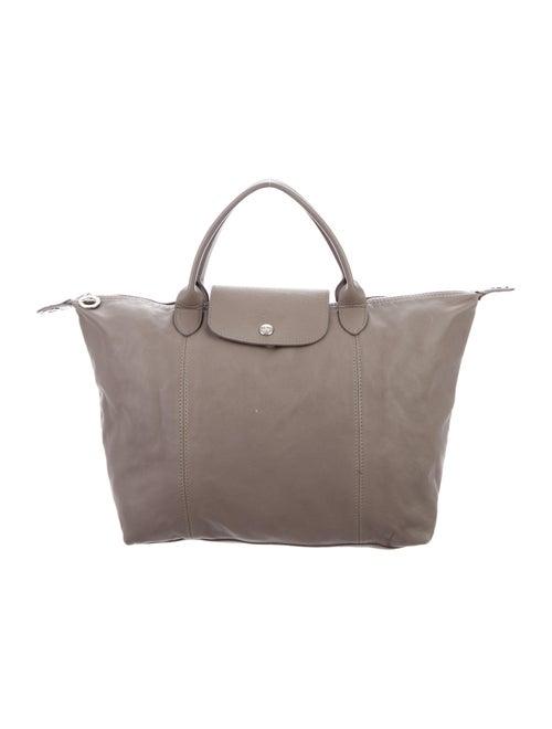 Longchamp Leather Satchel Bag Grey