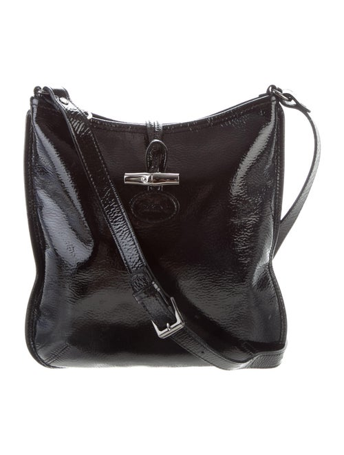 Longchamp Patent Leather Crossbody Bag Black