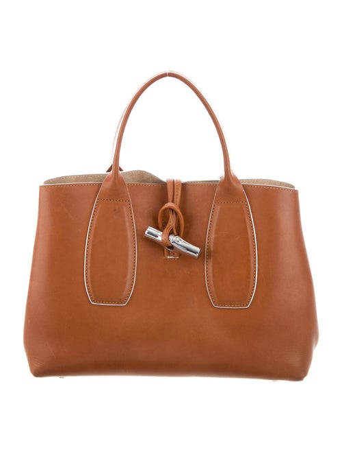 Longchamp Small Leather Roseau Tote Brown