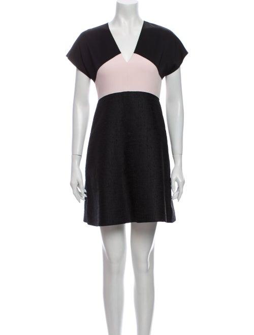 Longchamp Colorblock Pattern Mini Dress Black