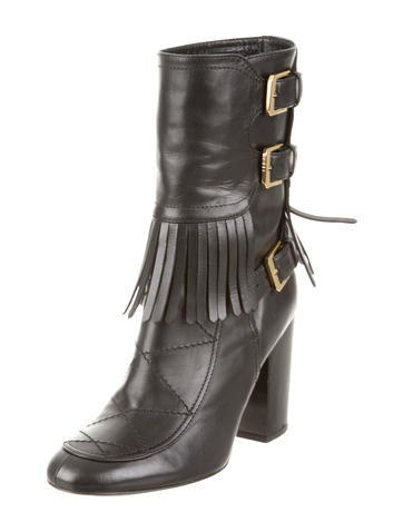 Fringe Buckle Ankle Boots