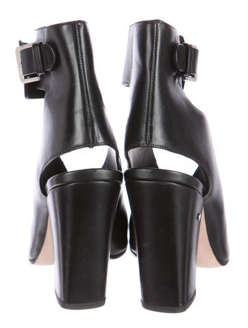 Leather Cut-Out Ankle Boots