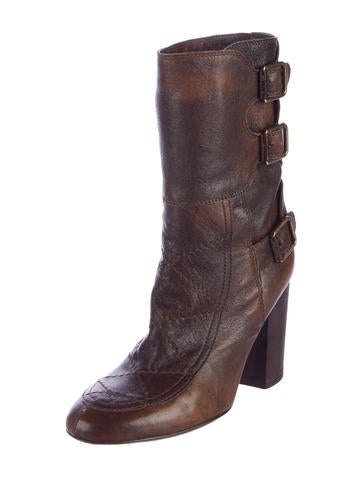 Distressed Buckle-Accented Ankle Boots