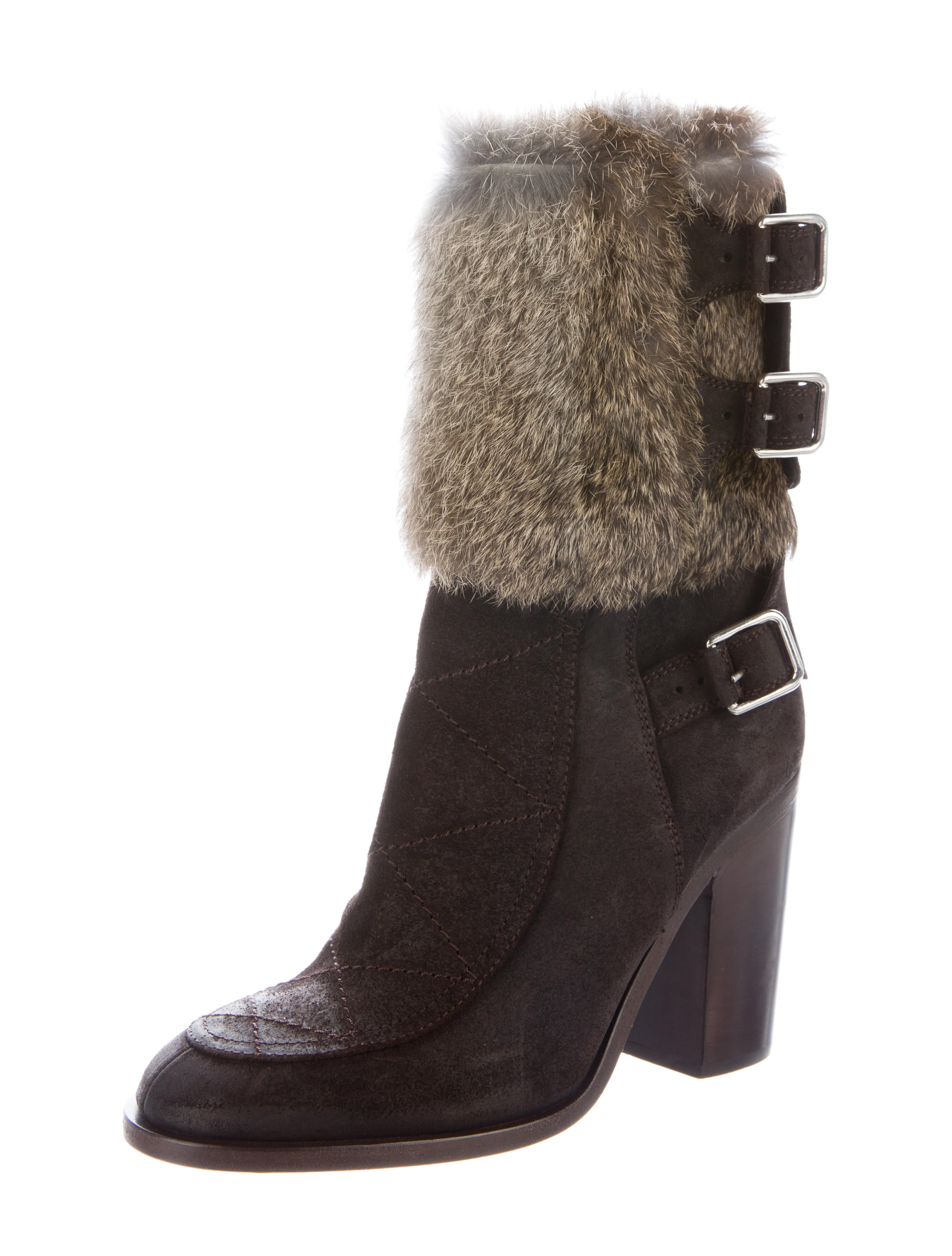 laurence dacade fur trimmed suede ankle boots shoes