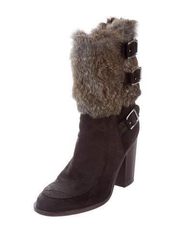 buy cheap the cheapest Laurence Dacade Fur-Lined Suede Ankle Boots clearance collections t8cUeO