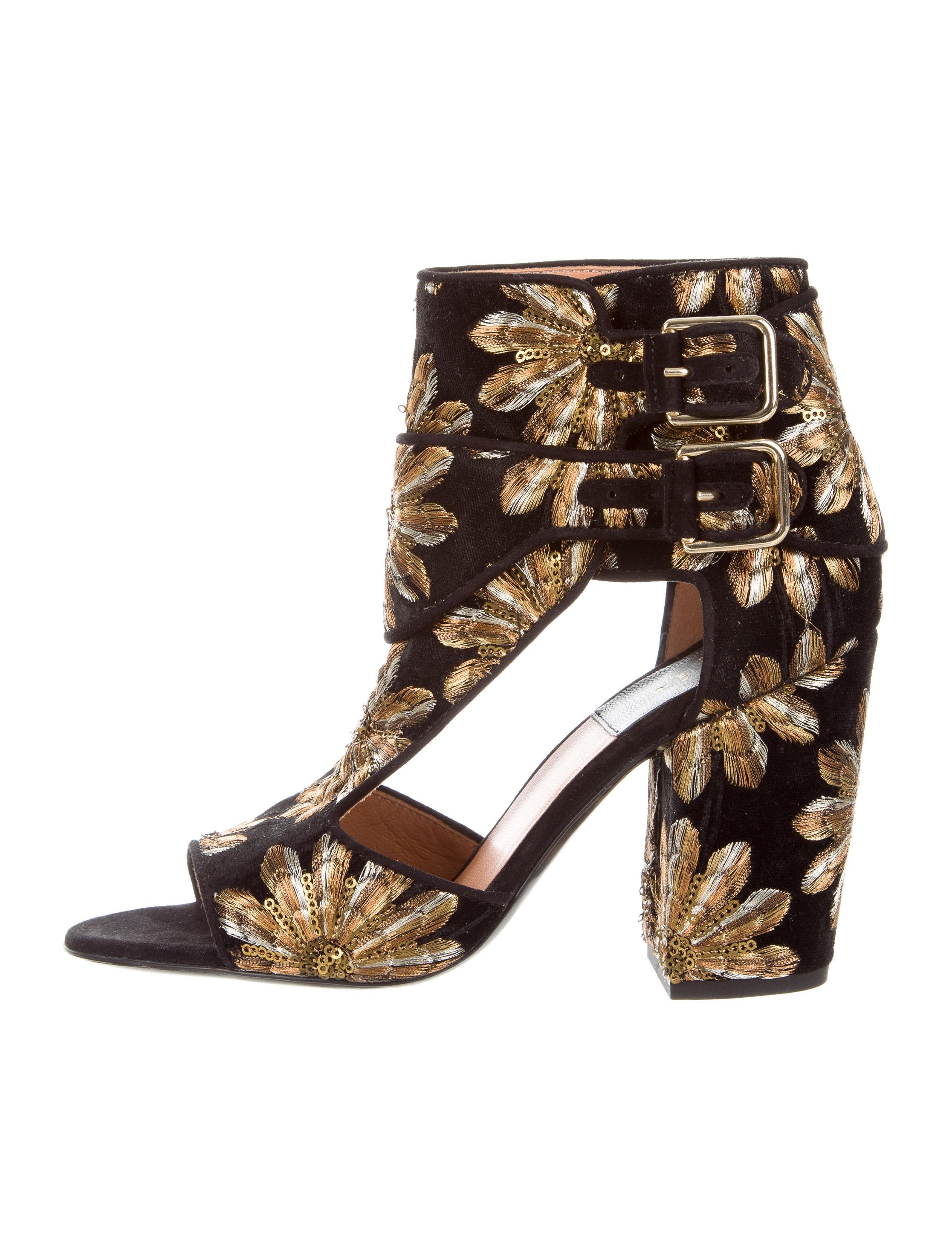 Laurence Dacade Floral-Embroidered Velvet Sandals w/ Tags where can you find outlet sale P40Zu9DQ