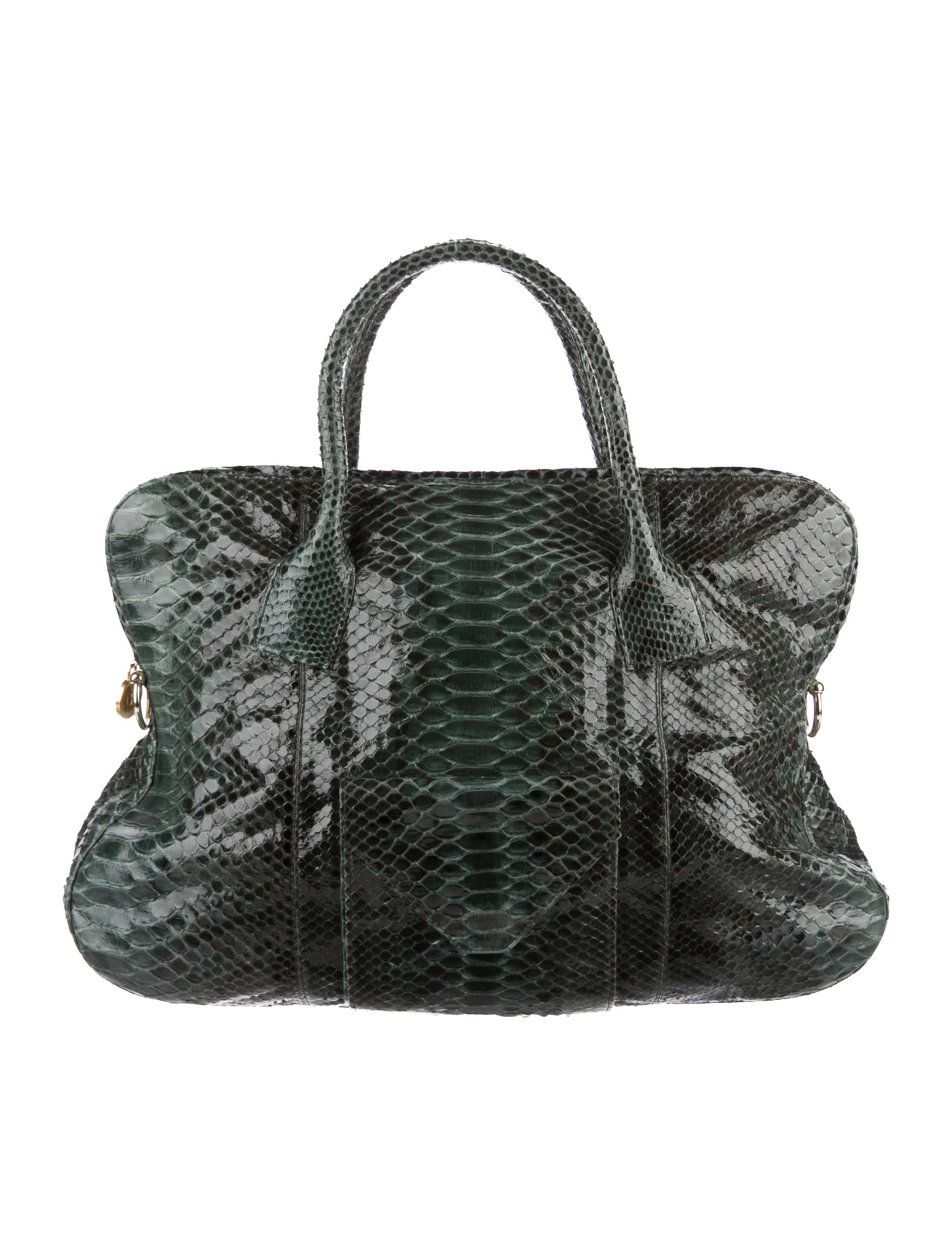 Handbags Python Drawstring Bucket Bag
