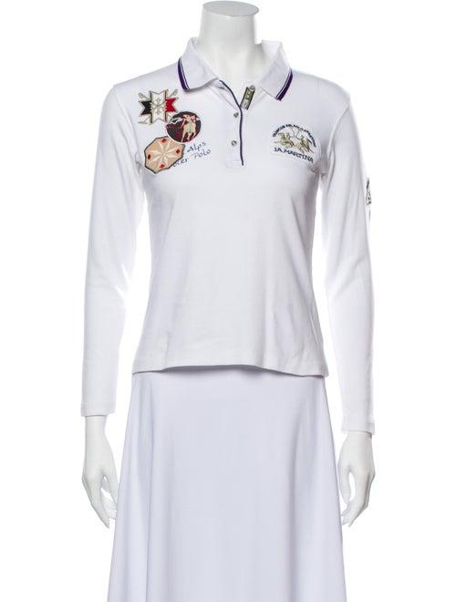 La Martina Printed Long Sleeve Polo White