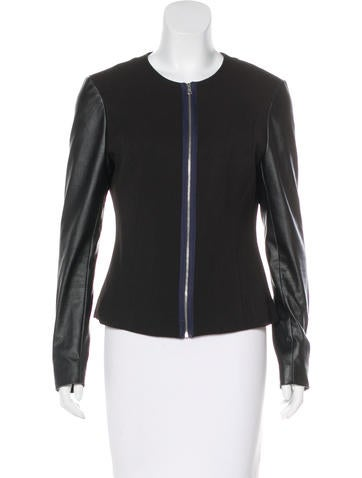 LA't by L'Agence Vegan Leather-Trimmed Woven Jacket None