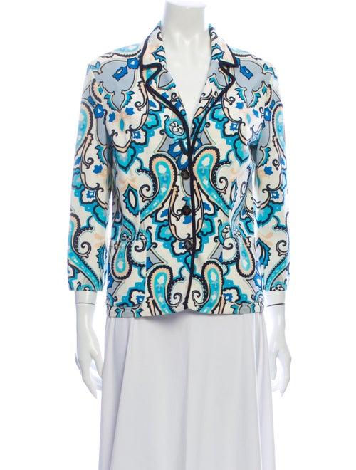 Les Copains Paisley Print Blazer Blue