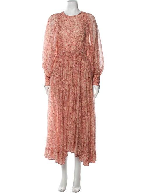 Laurence Bras Paisley Print Midi Length Dress Red