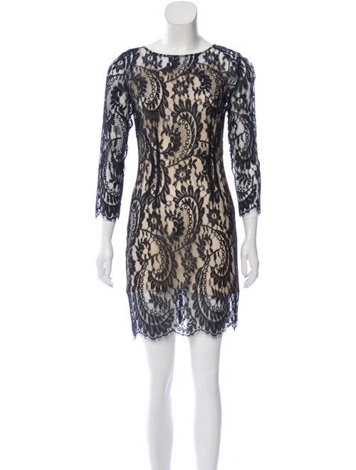 Lover Lace Pattern Mini Dress Blue