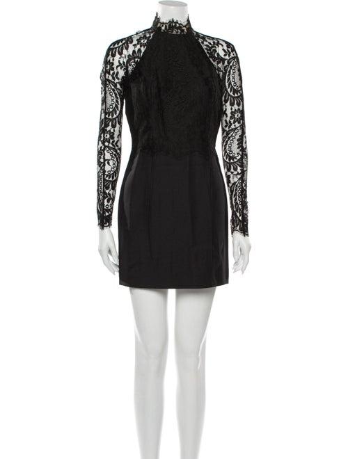 Lover Lace Pattern Mini Dress Black