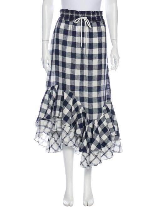 Lee Mathews Linen Midi Length Skirt White - image 1