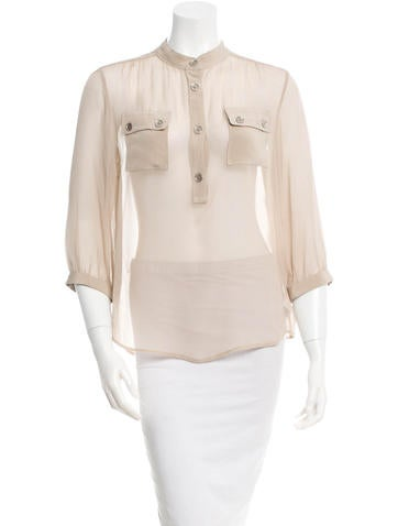 Loeffler Randall Sheer Silk Top None