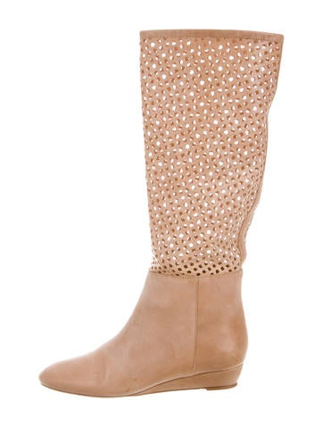 Loeffler Randall Leather Perforated Boots None