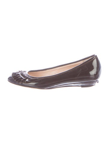 Loeffler Randall Patent Leather Round-Toe Flats None