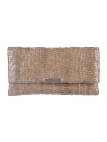Embossed Leather Flap Clutch
