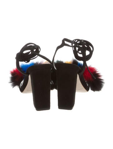 Nicolette Fox Fur-Trimmed Sandals