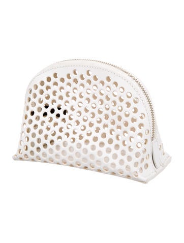 Perforated Leather Cosmetic Bag