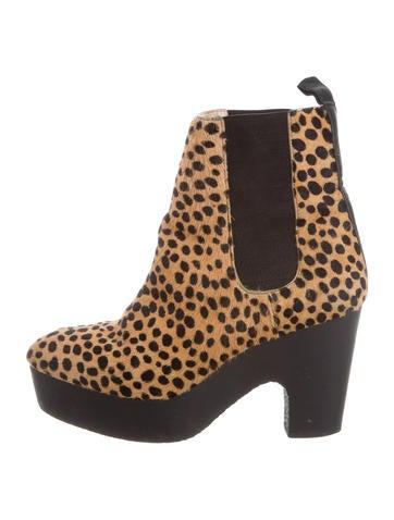 Loeffler Randall Cheetah Platform Ankle Boots None