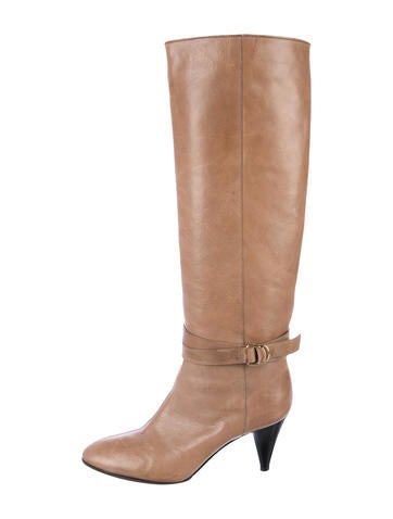 Loeffler Randall Leather Round-Toe Knee-High Boots None
